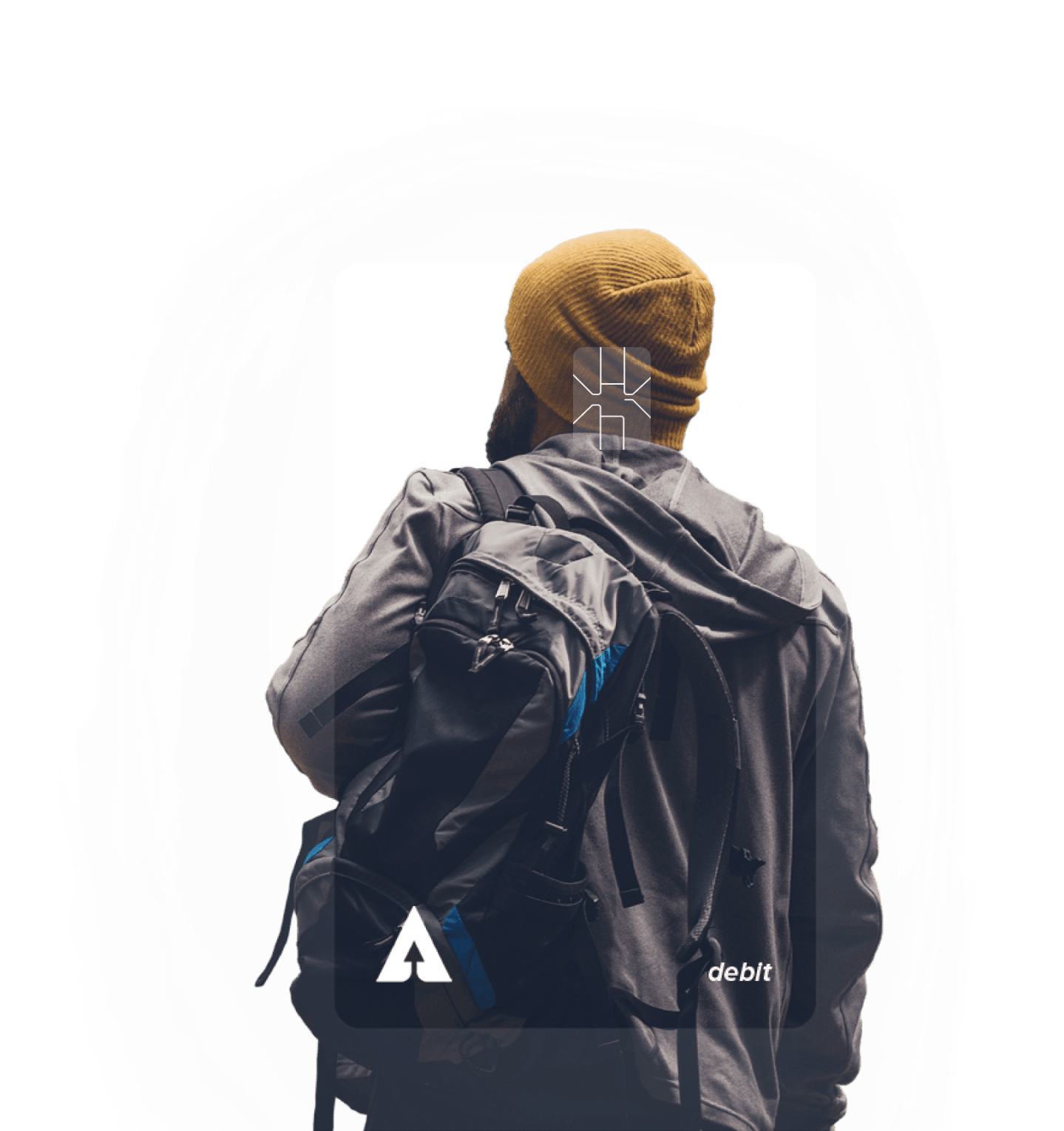 Man with a backpack.