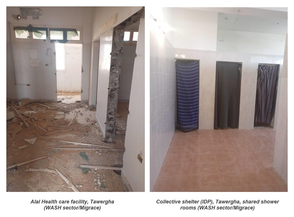 Alal Health care facility and collective IDP shelter, shared shower rooms, Tawergha (WASH sector/Migrace)