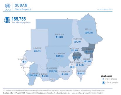 Sudan:  Flood Snapshot as of 12 August 2020