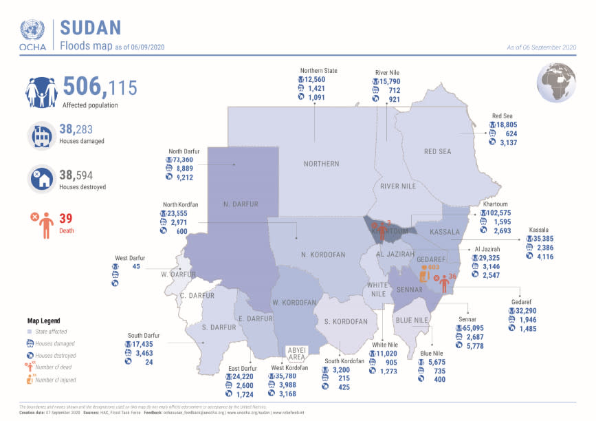 Sudan:  Flood map as of 6 September 2020