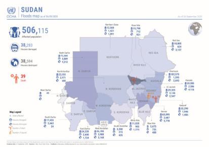 Sudan:  Flood map as of 6 September 2020