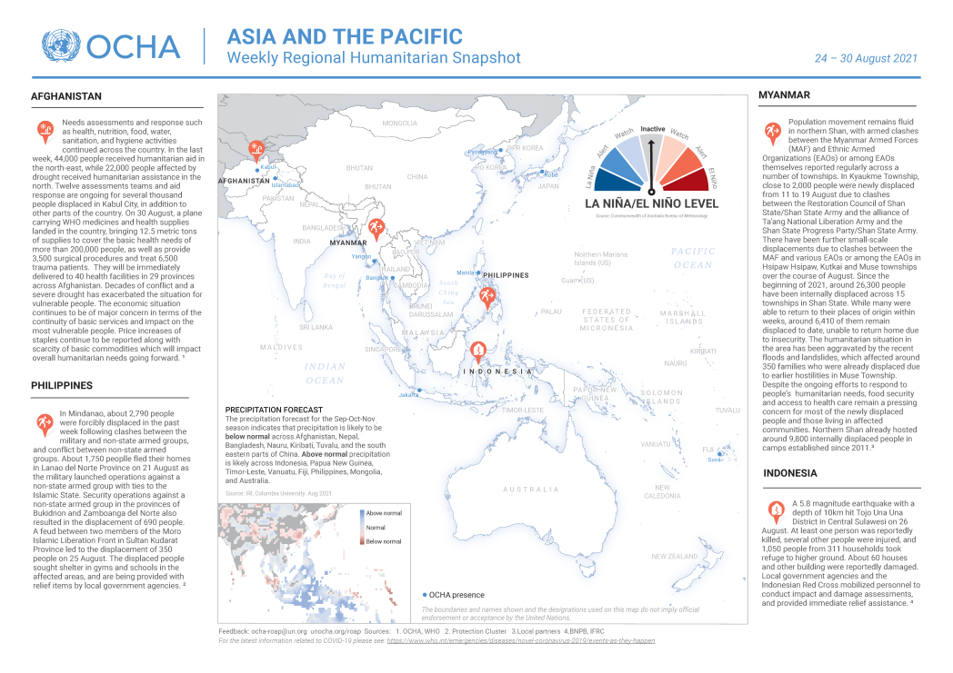 Asia Pacific Weekly Humanitarian Snapshot: 24-30 August 2021