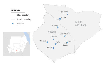 South Kordofan, location of areas affected in and around Kadugli