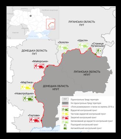 """""""Лінія розмежування"""" довжиною 427 кілометрів та п'ять контрольних пунктів на сході України"""