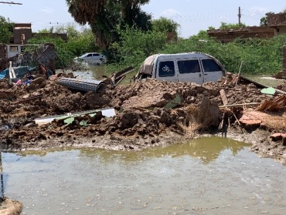 Homes destroyed and property damaged by floods, stagnant and contaminated water seen in Wad Mukhtar village on 3 September 2020
