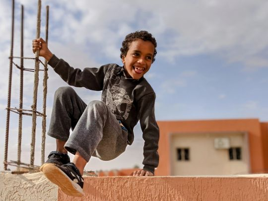 A displaced student in front of a primary health center met during a inter-agency monitoring mission to Ghadames (OCHA/Jennifer Bose Ratka)