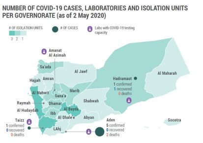 NUMBER OF COVID-19 CASES, LABORATORIES AND ISOLATION UNITS PER GOVERNORATE (as of 2 May 2020)