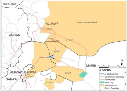 Areas affected by recent conflict in Sana′a, Marib and Al Jawf
