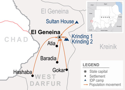 Population movements in El Geneina, West Darfur, Sudan