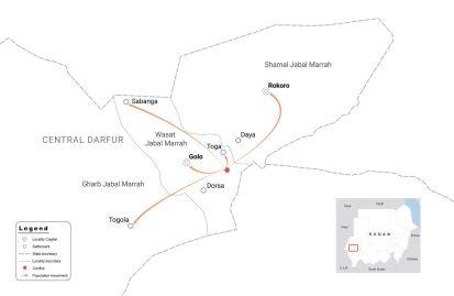 لجأ 27,000 شخص على الأقل إلى قرية توقا بسبب النزاع في جبل مرة
