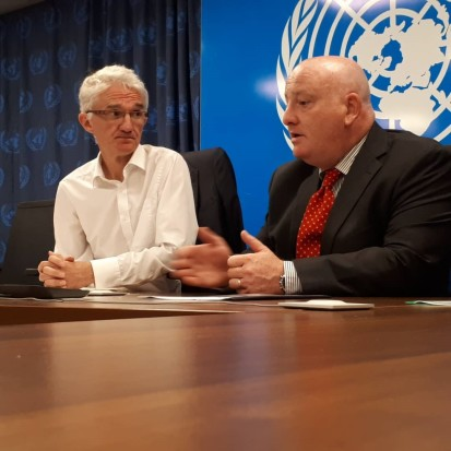 Mr. Justin Brady (right) with the UN Emergency Relief Coordinator Mr. Mark Lowcock (left) at a meeting in Mogadishu in September 2019.Mursal/ OCHA
