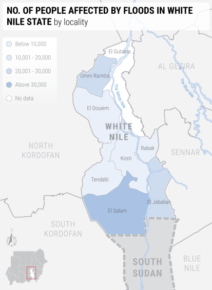 Flood affected population in White Nile State