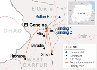 Displacement due to inter-communal fighting in El Geneina, West Darfur
