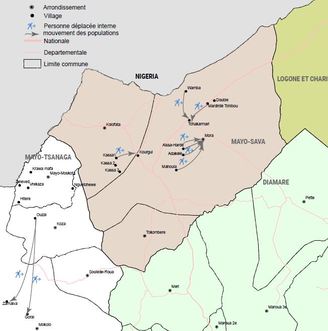 Carte de mouvements de populations dans le département du Mayo-Sava de Kassa vers Kourgui, de Aissa Hardé, Adékélé et de Mouhoula et de Wamba et Madirdé Tchibou vers Tchakamari