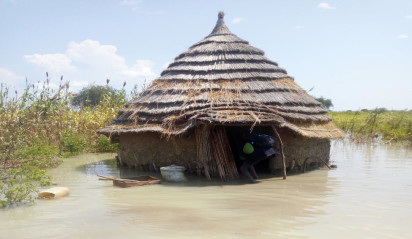 A home in the Abyei Area surrounded by floodwaters