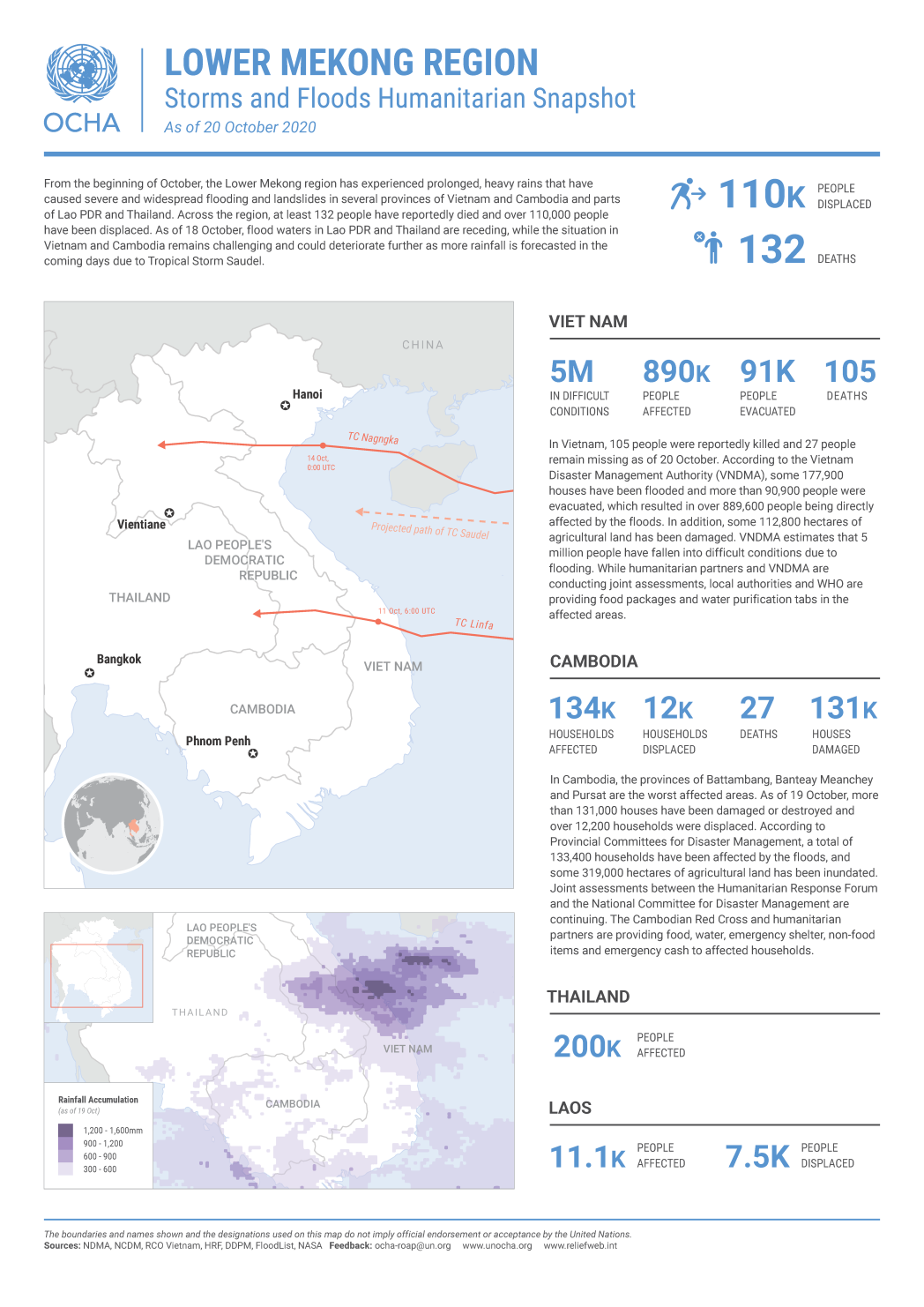 Lower Mekong Region: Storms and Floods Humanitarian Snapshot (As of 20 October 2020)
