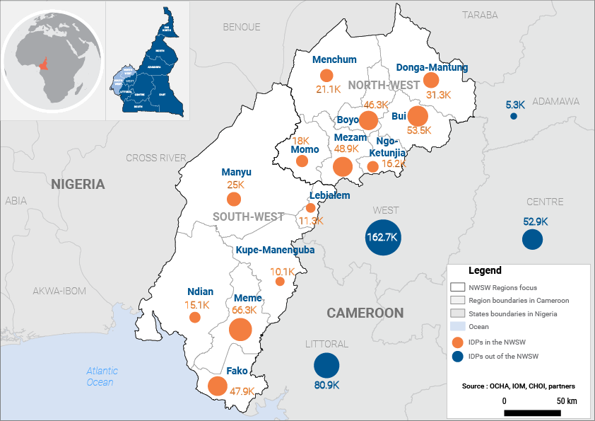Map of IDPs from the North-West and South-West regions of Cameroon