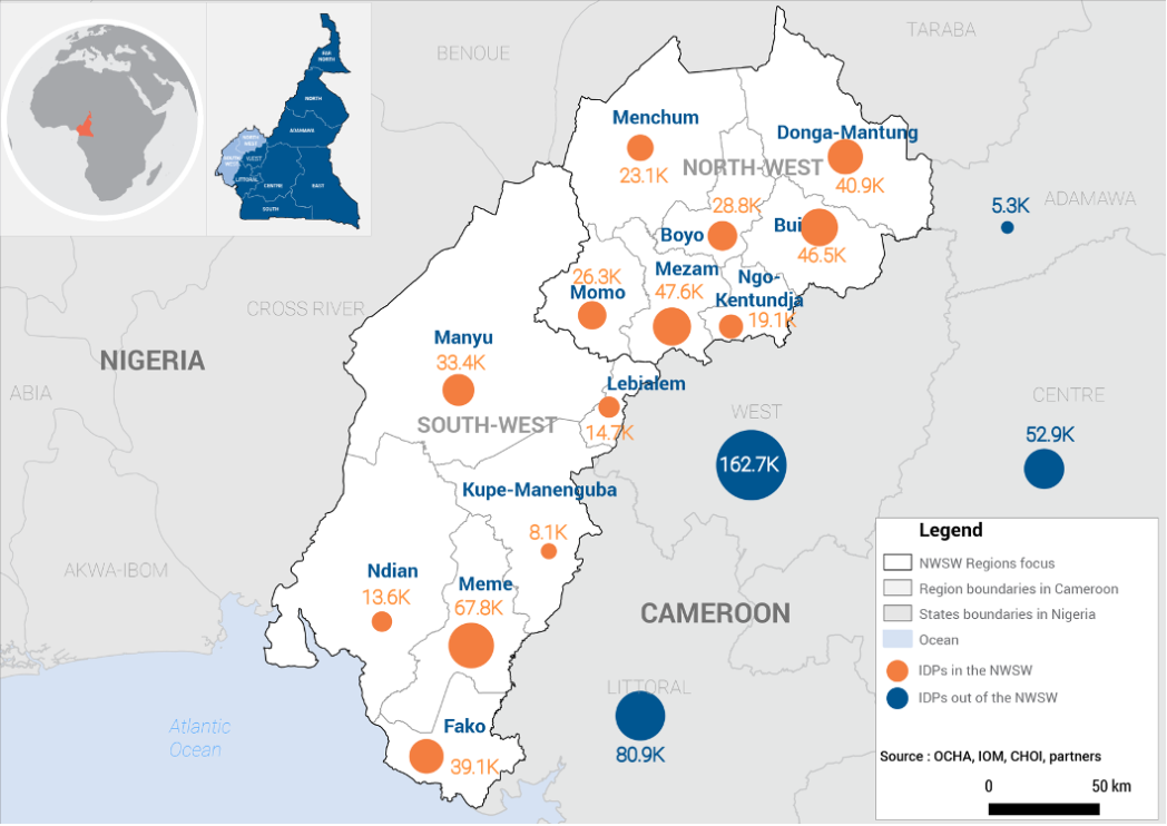 Map of IDPs and returnees from the North-West and South-West regions of Cameroon