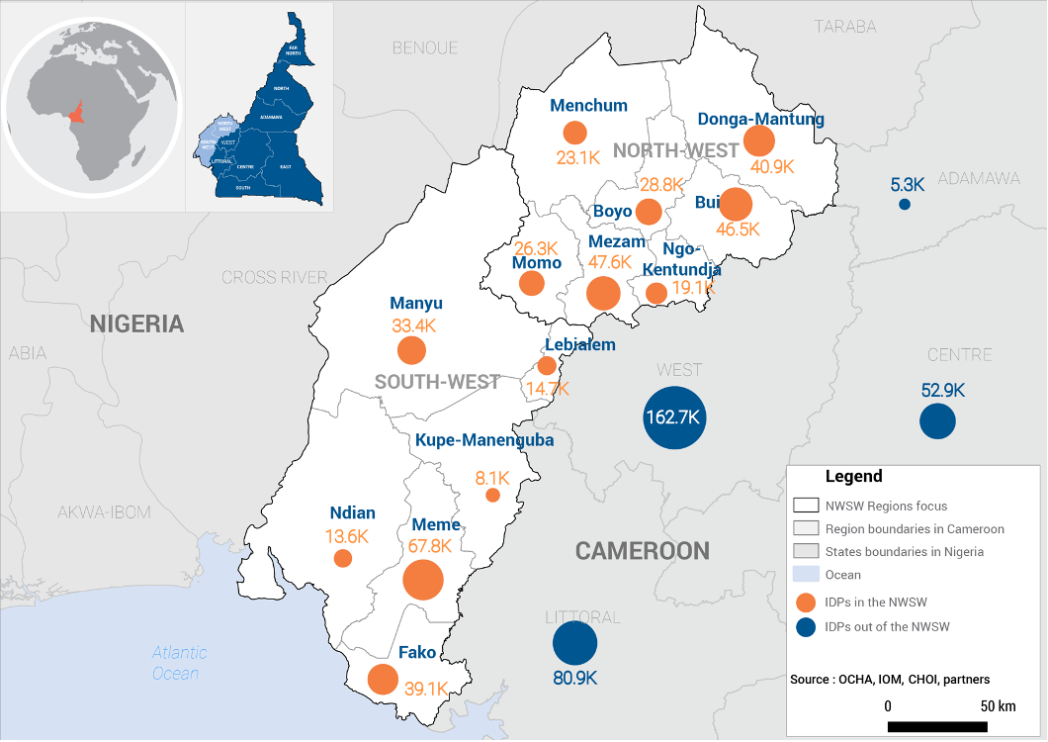 Map of IDP from the North-West and South-West Regions of Cameroon