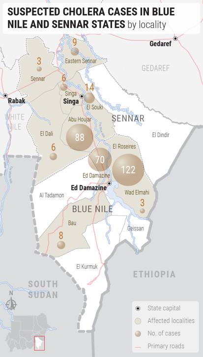 Cholera cases in Blue Nile and Sennar (4 November 2019)