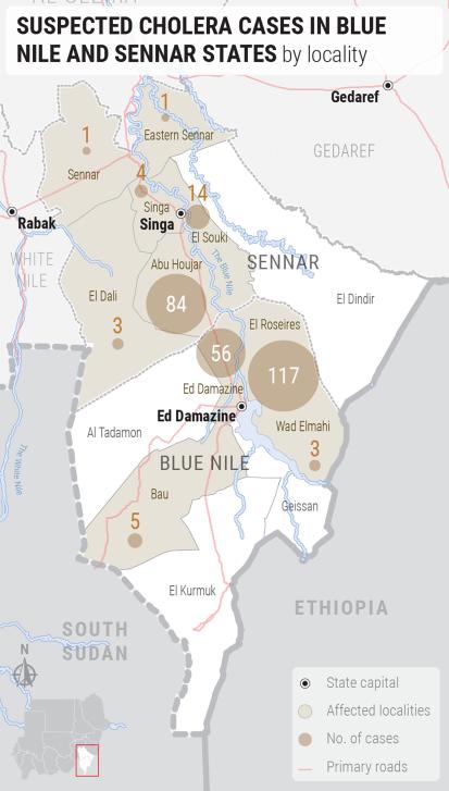Cholera cases in Blue Nile and Sennar (11 October 2019)