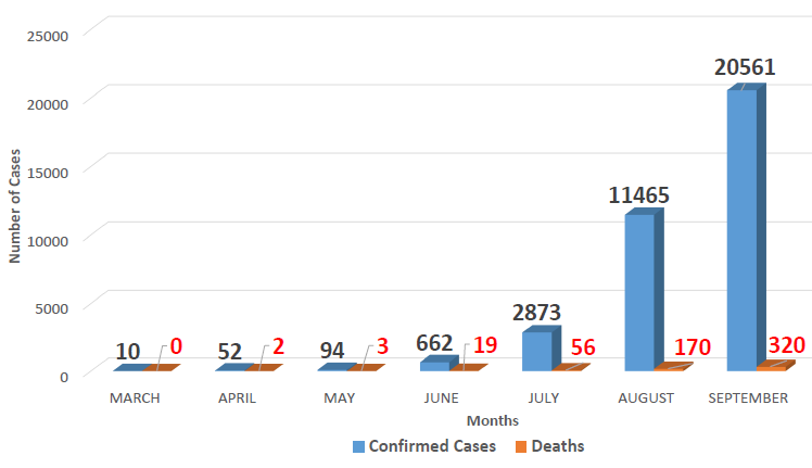 Number of confirmed COVID-19 cases and deaths by month (source: NCDC/WHO)