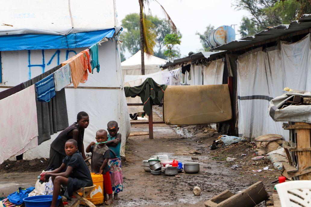 Site des déplacés de Maramvya Sobel, près de Bujumbura (Burundi), en juin 2021, où 6 469 personnes vivent depuis les inondations de 2020 à Gatumba.