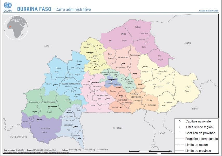 Burkina Faso carte administrative