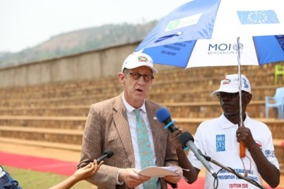 Mr. Niels Scott, Resident Coordinator a.i of the United Nations system, during his address to the celebration of the International Day for the Reduction of Natural Disasters in Mugina of the Cibitoke province 2020. © UNDP 2020 / Landry Gakuba