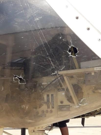 Damage to UNHAS Heli in Damasak