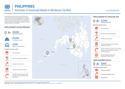 Overview of assessed needs in Mindanao conflict