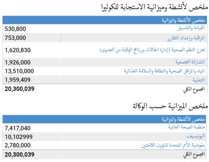 Sudan cholera response plan budget by activity and agency