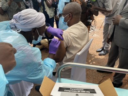 The Ministry of Health Pierre Somse received the COVID-19 vaccination at the kick-off ceremony of the national vaccination campaign in the capital Bangui. ©MINISTRY OF HEALTH/Jean-Louis DA, Bangui, CAR, 2021.