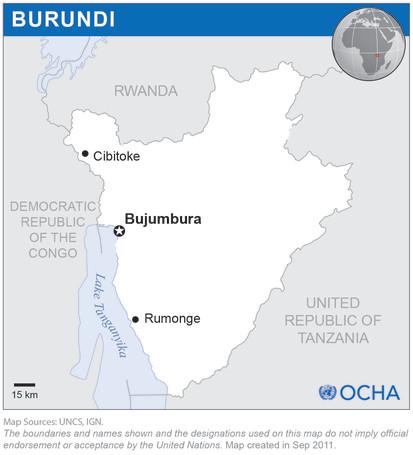 Localisation des provinces de Rumonge, Bujumbura Marie et Cibitoke