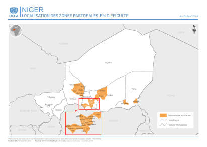 Map of zone with livestock issues in Niger