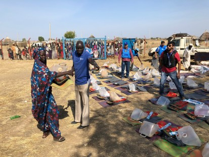 Distributing supplies in Abyei January 2020