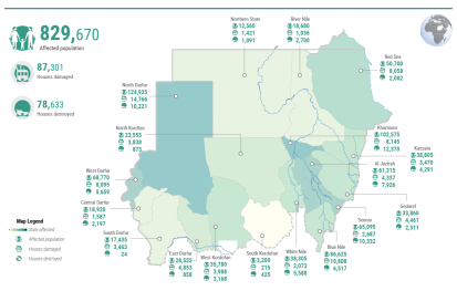 People affected by floods in Sudan, as of 24 September 2020