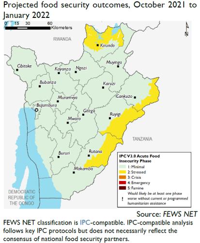 Prévisions sur la situation de la sécurité alimentaire par l'organisation Fews Net pour la période octobre 2021 - janvier 2022.