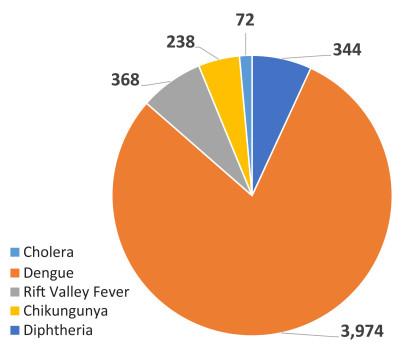 Breakdown of disease outbreaks in Sudan