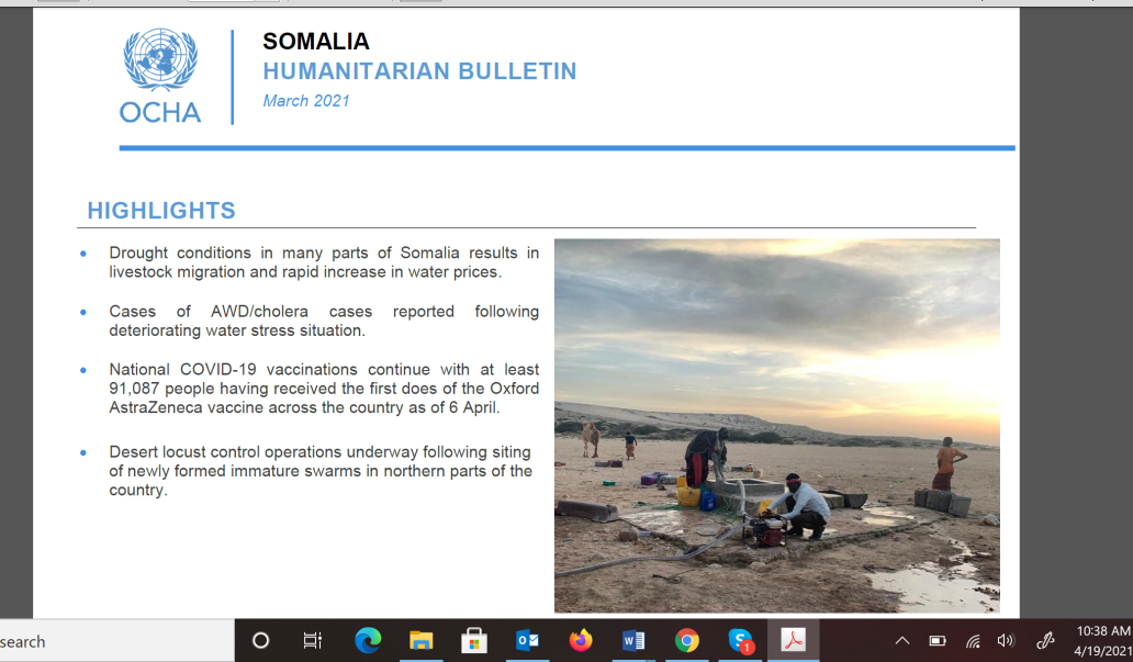 OCHA Somalia Humanitarian Bulletin - March 2021 -