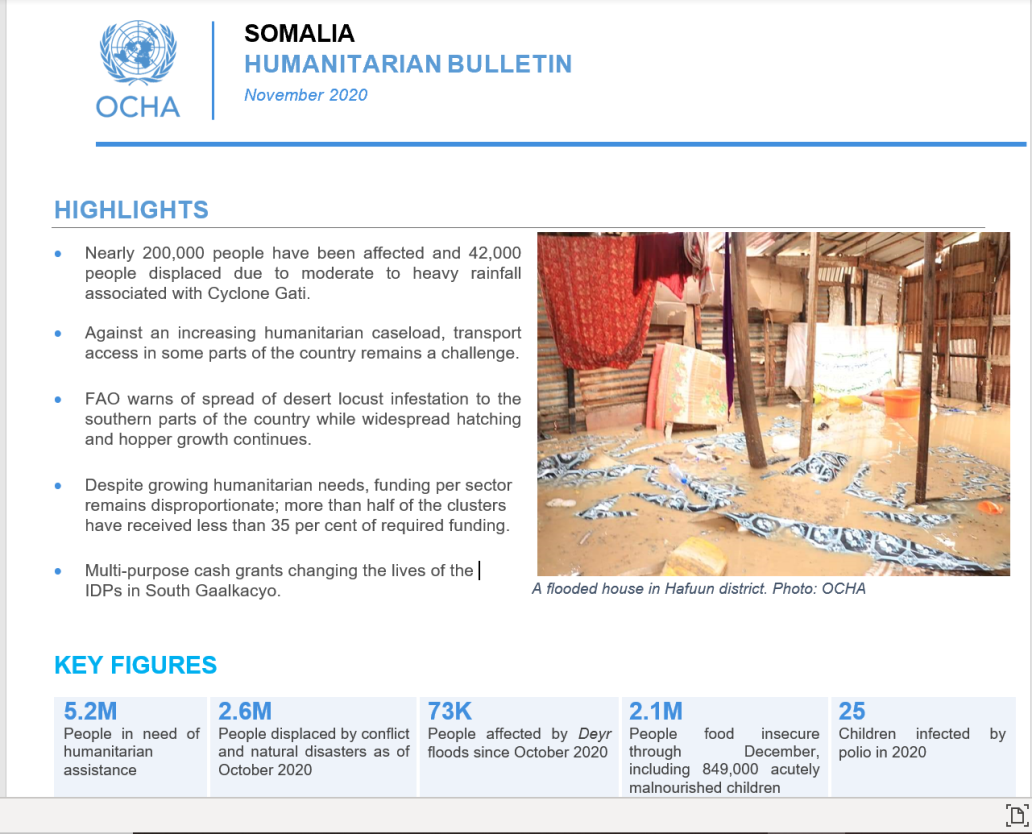 OCHA Somalia Humanitarian Bulletin - November - Photo: Warsame/OCHA
