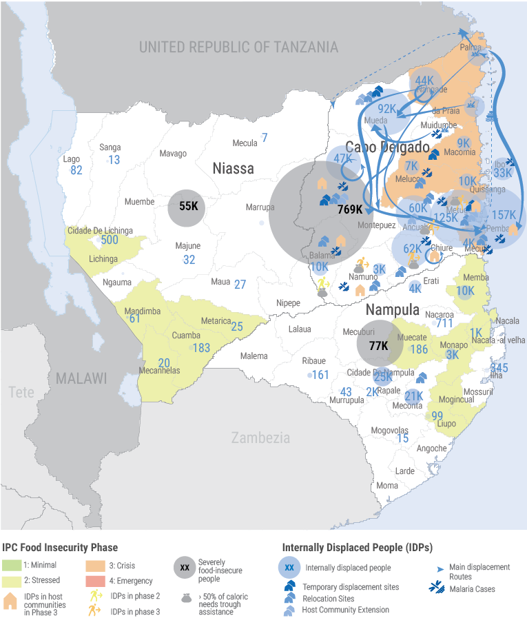 Northern Mozambique - Food Insecurity and Displacement Map