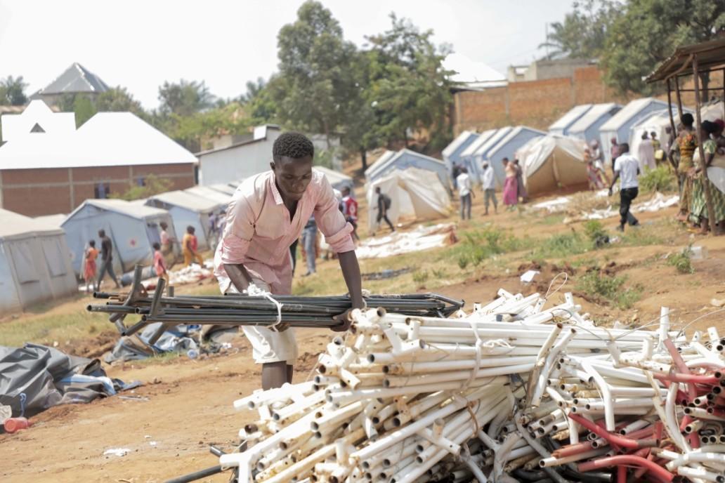 Décommissionnement du site des déplacés de Winterekwa. © Help a Child 2020/Jean Asali Lobiko
