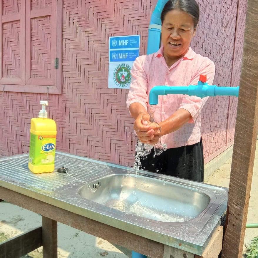 Hand-washing in IDP Camp in Kachin State, Myanmar