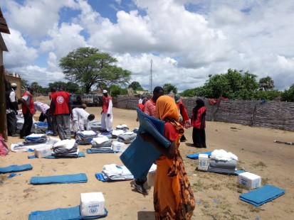 Refugees and Red Crescent volunteers supporting the distribution activities in Um Dafoug UNHCR 2019