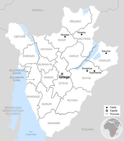 Localisation du camp de Nyankanda sur la carte du Burundi