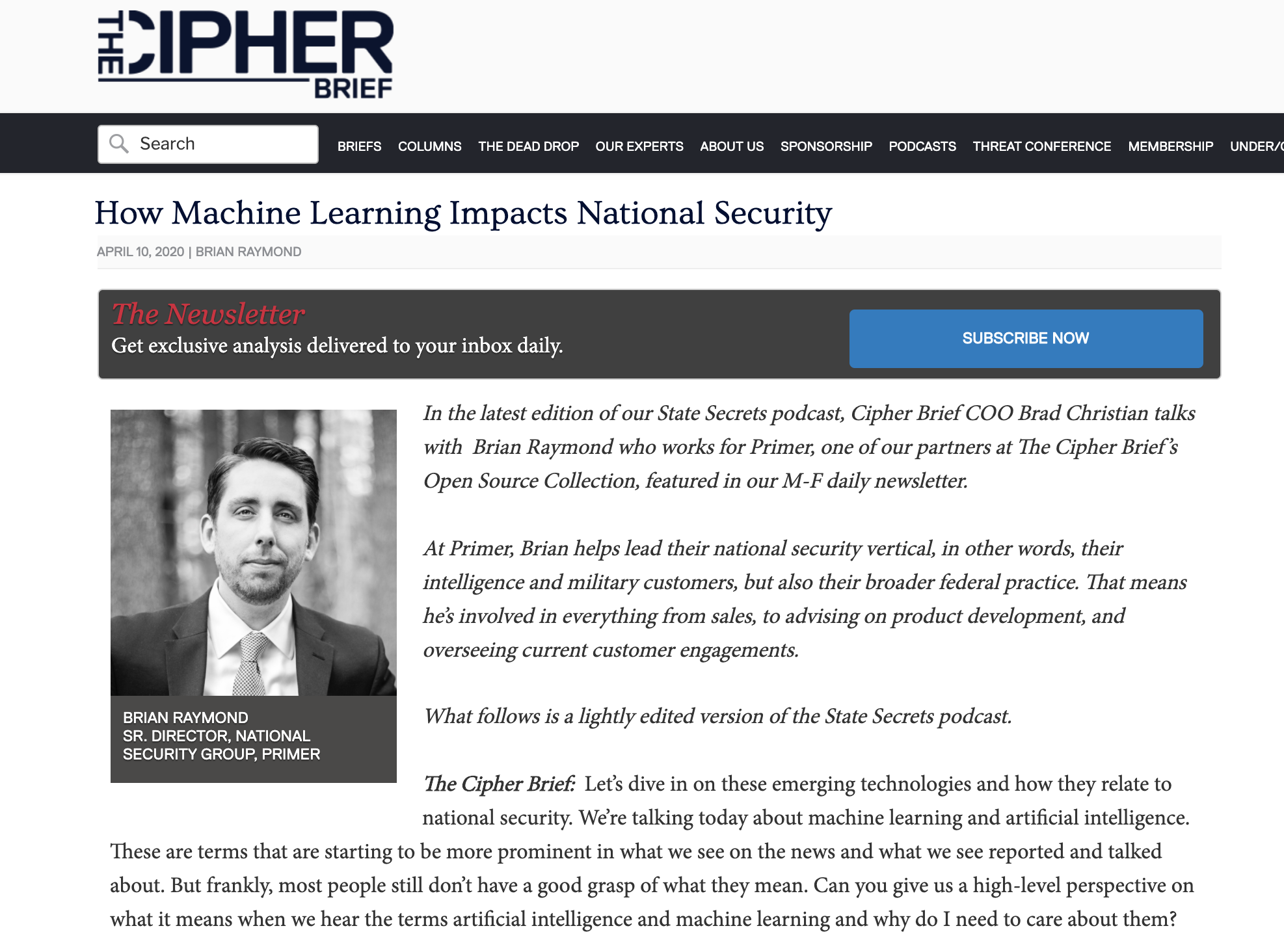 How Machine Learning Impacts National Security