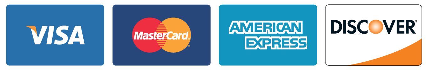accepted credit cards: Visa, Mastercard, American Express, Discover