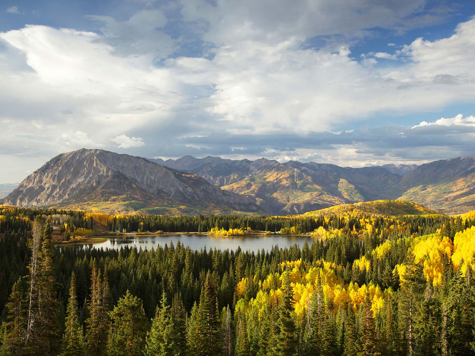 Autumn Trees and Lake in Colorado Rocky Mountains