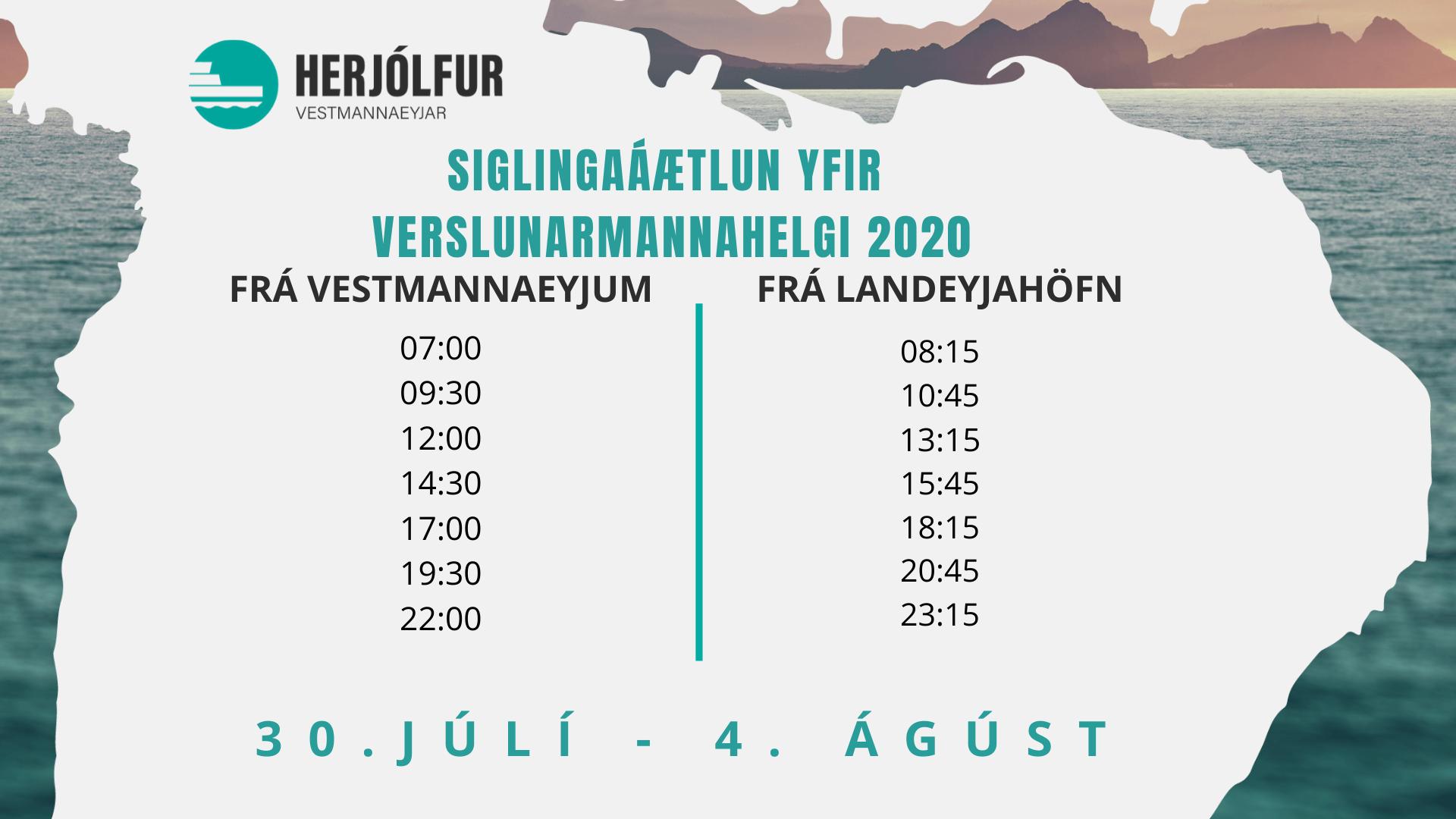 Siglingaáætlun yfir Verslunarmannahelgi 2020